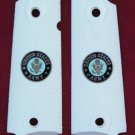 GRIPCRAFTER SIM.IVORY DOUBLE DIAMOND 'ARMY' MEDALLION 1911 COLT KIMBER GRIPS