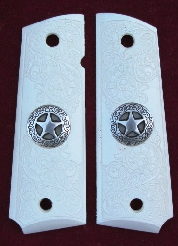 GRIPCRAFTER SIM.IVORY 'SCRIMSHAW' TEXAS SILVER STAR 1911 COLT KIMBER GRIPS