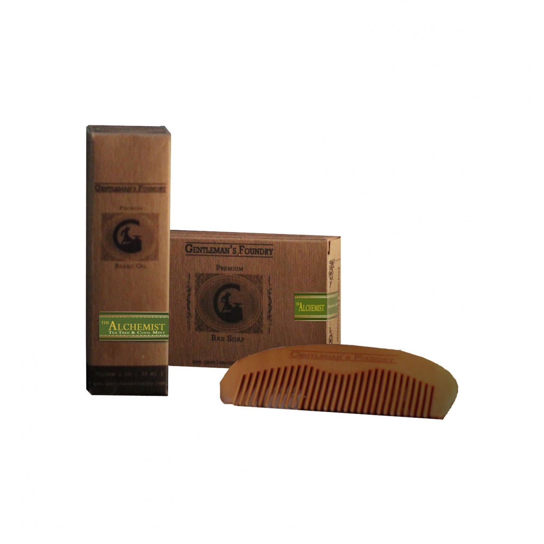 Beard Gift Set � Peppermint & Tea Tree Beard Oil, Shampoo Soap, & Beard Comb (Gentleman's Foundry)