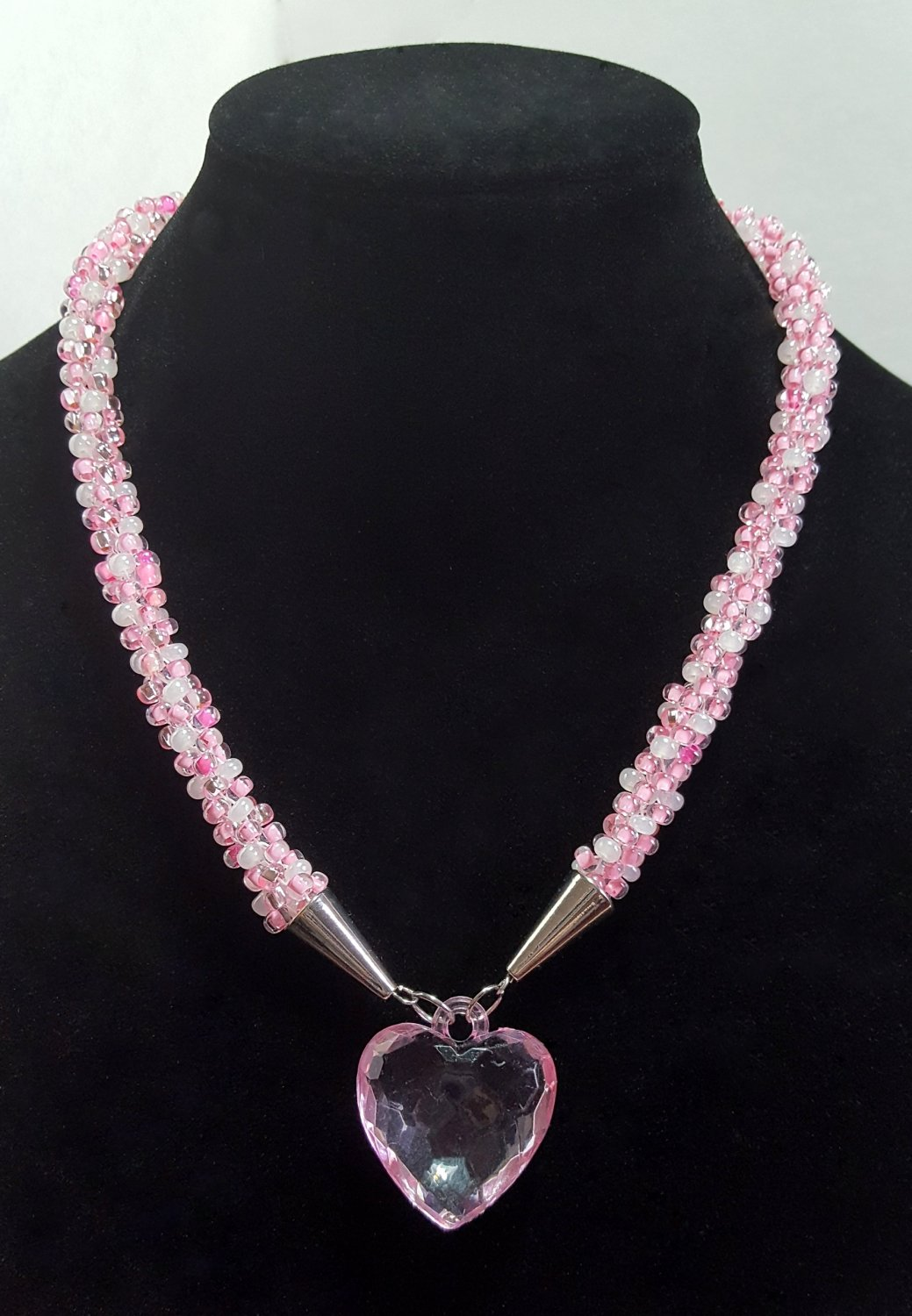 Pink Sweetheart Beaded Necklace