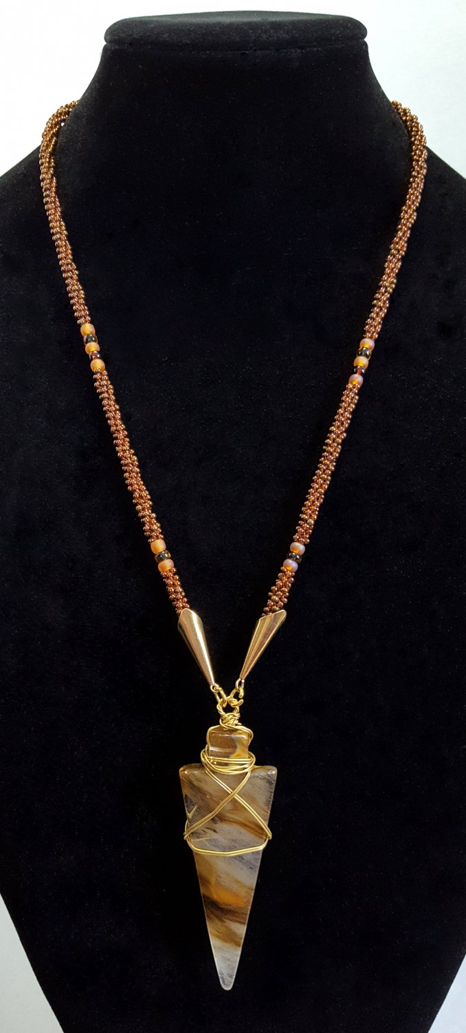 Brown and Copper Arrowhead Beaded Necklace