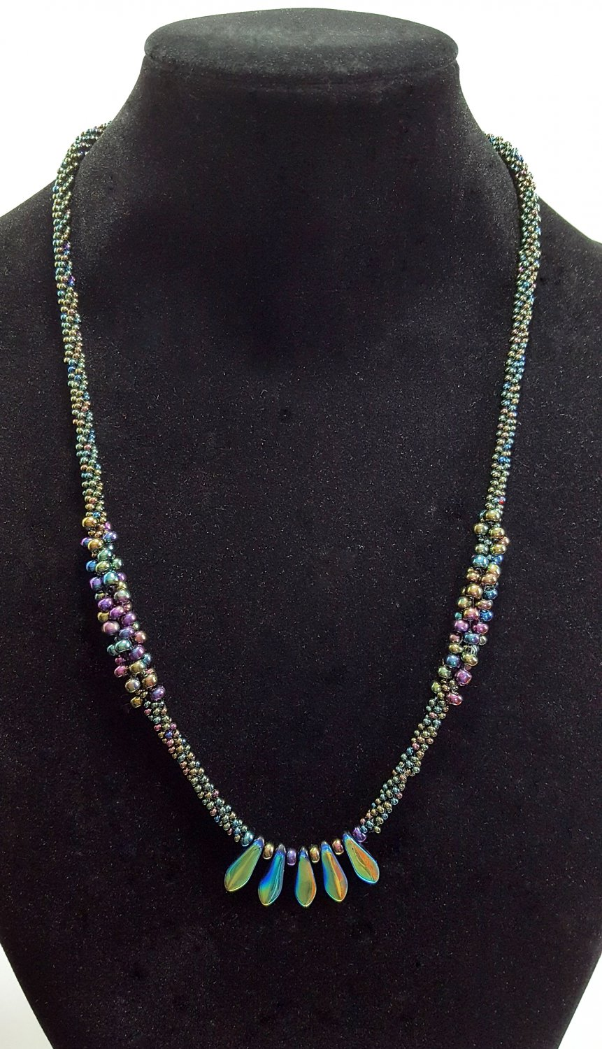 Iridescent Spiked Kumihimo Necklace