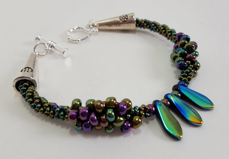 Iridescent Spiked Kumihimo Bracelet