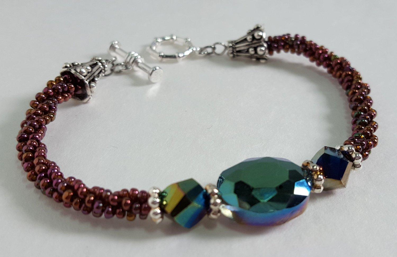 Faceted Iridescent Kumihimo Braided Bracelet
