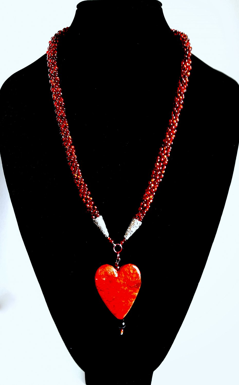 Heart Pendant Beaded Necklace