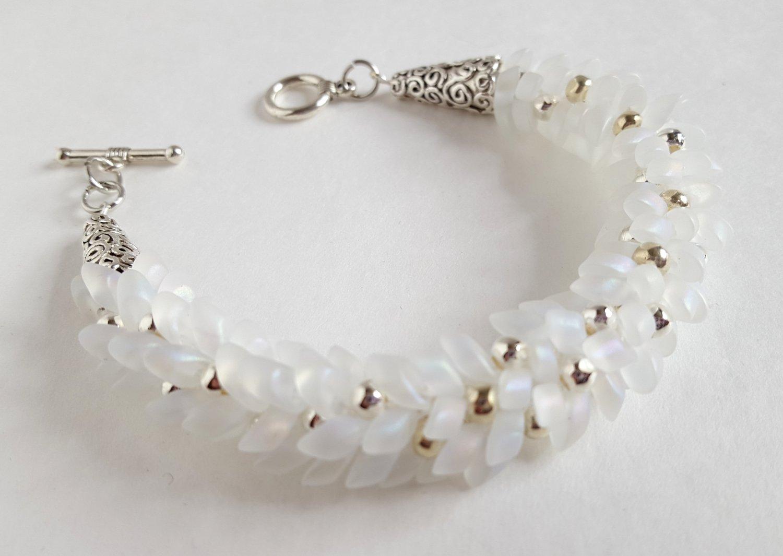 White Magatama Beaded Wedding Bracelet