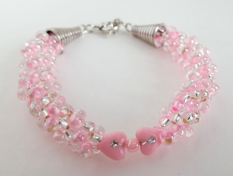 Pink Sweetheart Beaded Bracelets. Kumihimo Braided (two sizes)