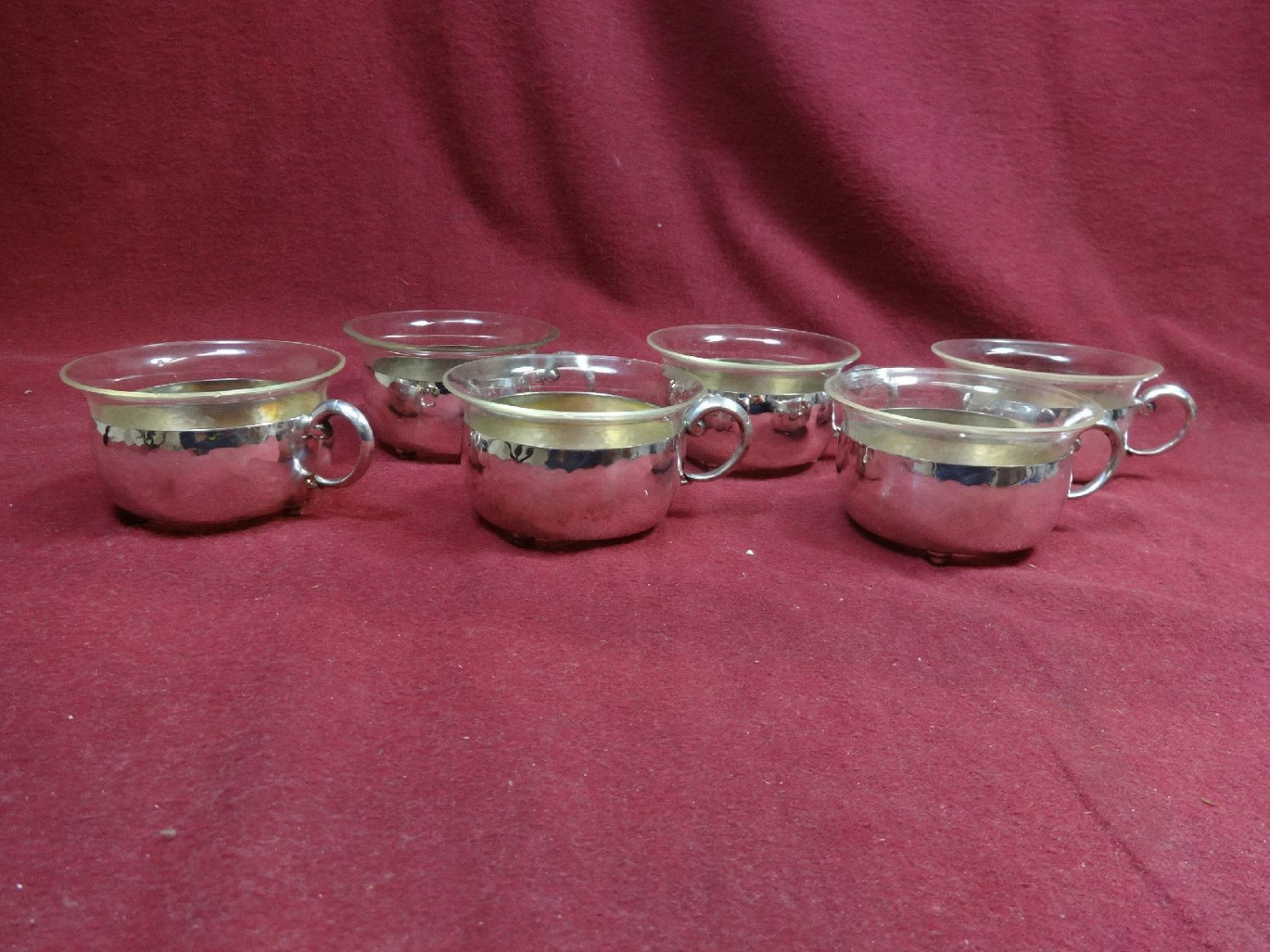 Six 830 Silver Hand Hammered Bouillon Cups