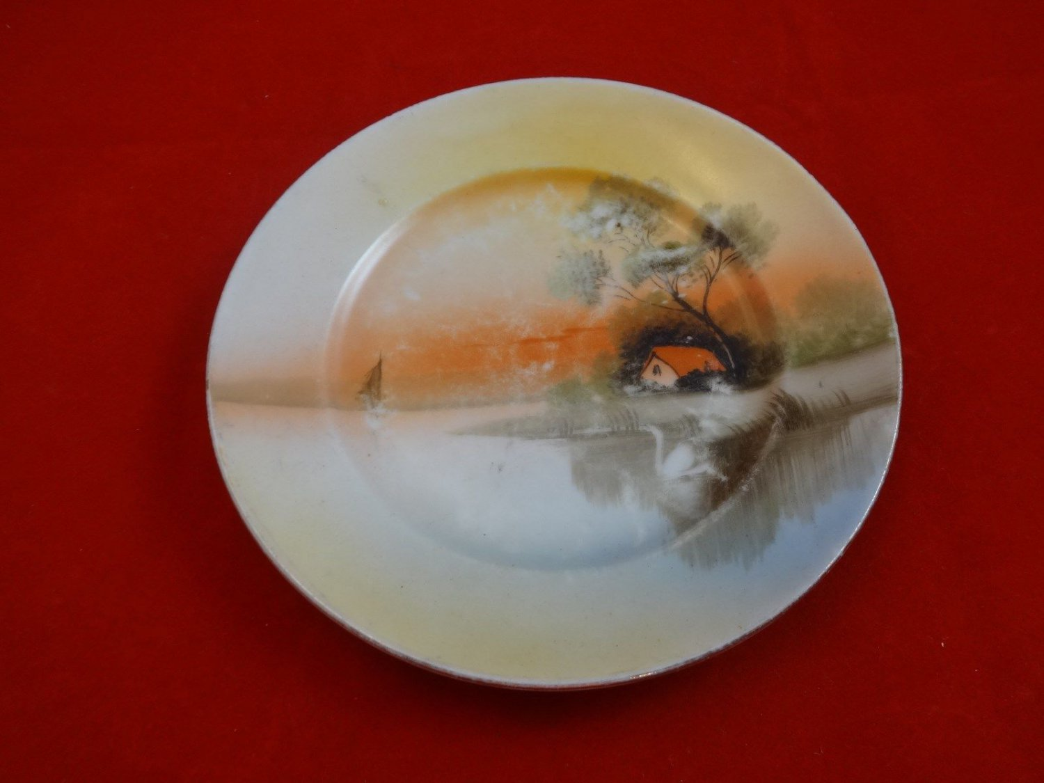 Hand Painted Plate Made in Japan with House and Boat