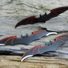 "Batman Bat Red winged 3 pcs 6 "" Thrower Knife Set  (You Get All Three) with case!"