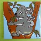 "Ceramic Art Tile 6""x6"" Cute Koala bear with baby Australia wall trivet NEW G62"