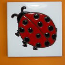 "Ceramic Art Tile 6""x6"" Handpainted CUTE Ladybug trivet wall garden home NEW I38"
