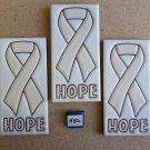 "Ceramic Art Tile 3""x6"" 3PCS SET BEIGE AWARENESS/HOPE RIBBON MURAL/COLLAGE A82"