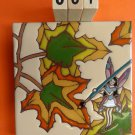 "Ceramic Art Tile 6""x6"" Fairy Painting Autumn Leaves Very Unique trivet wall C91"