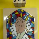 "Ceramic Art Tile 6""x6"" Stain glass window praying hands church trivet wall D88"