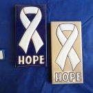"Ceramic Art Tile 3""x6"" 2PCS SET WHITE AWARENESS/HOPE RIBBON  COLLAGE  MURAL A77"