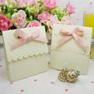 50pc gold Candy Box pink ribbon Wedding Favors box gift box candy box paper box