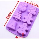 Christmas 6 hole Snowman Tree Ginger Man Silicone Cake Mould Chocolate mould