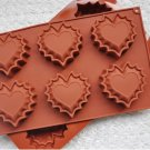 6 hole Love lace jelly mold silicone soap molds heart cake mould chocolate mold