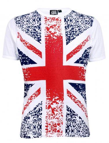 Mens White Union Jack Short Sleeved T Shirt