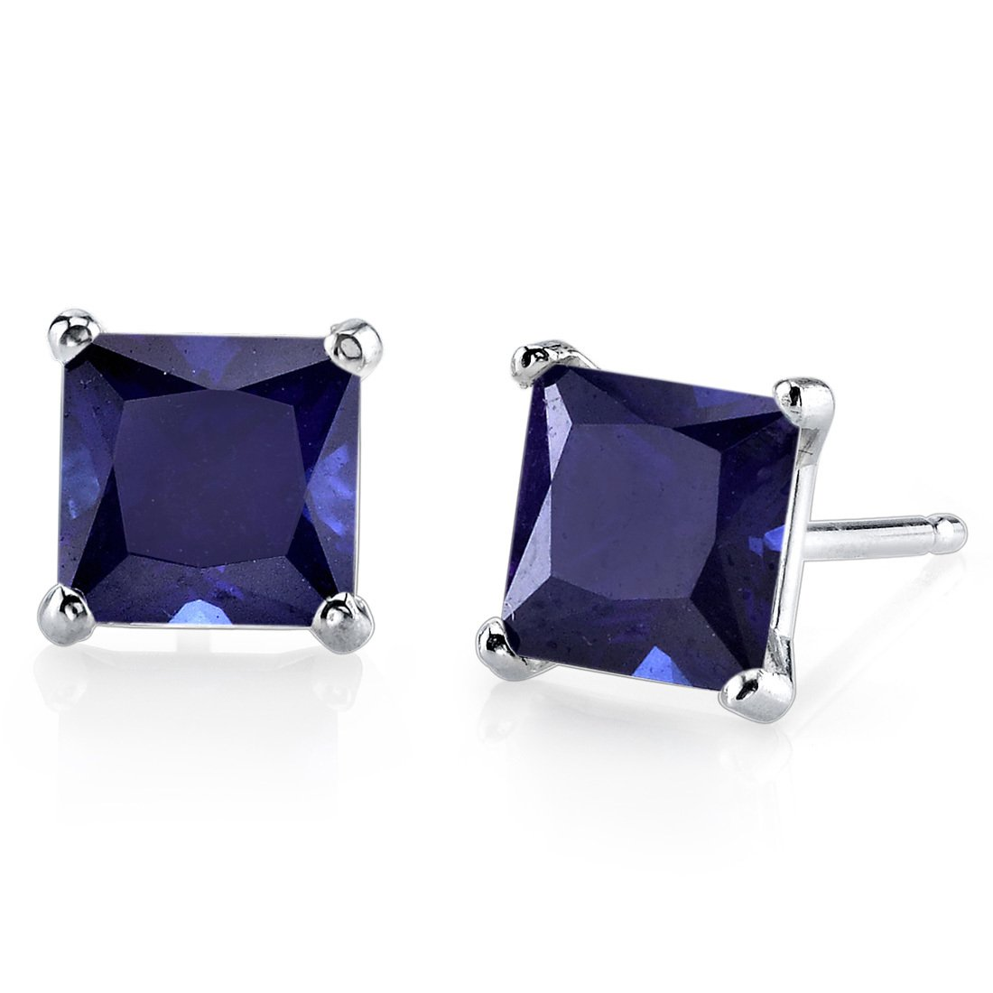 14K 14ct White Gold 2 Ct Lab Blue Sapphire Stud Earrings Princess Cut 6 x 6 mm