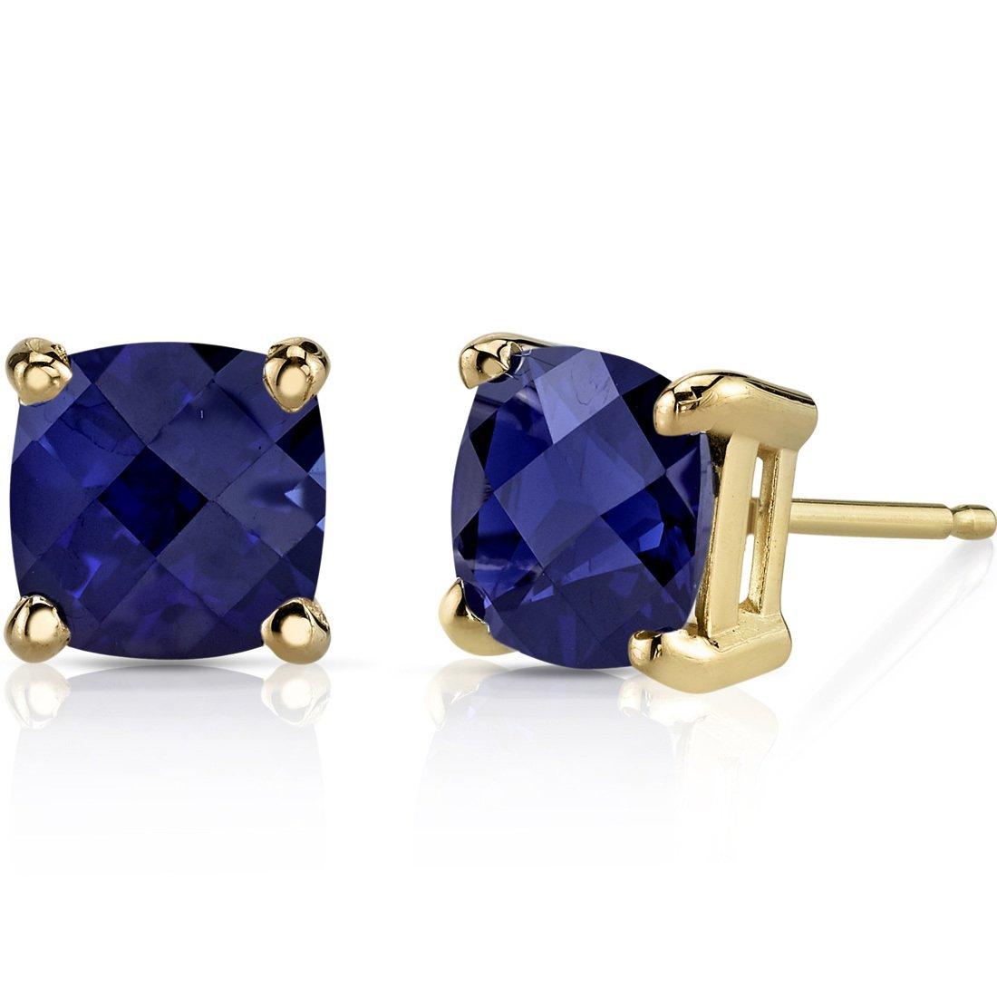14K 14ct Yellow Gold 2 Ct Lab Blue Sapphire Stud Earrings Cushion Cut 6 x 6 mm