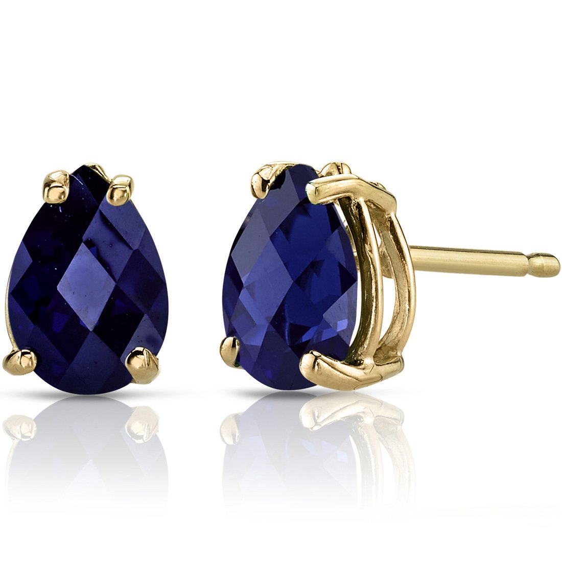 14K 14ct Yellow Gold 1.6 Ct Lab Blue Sapphire Stud Earrings Pear Cut 7 x 5 mm