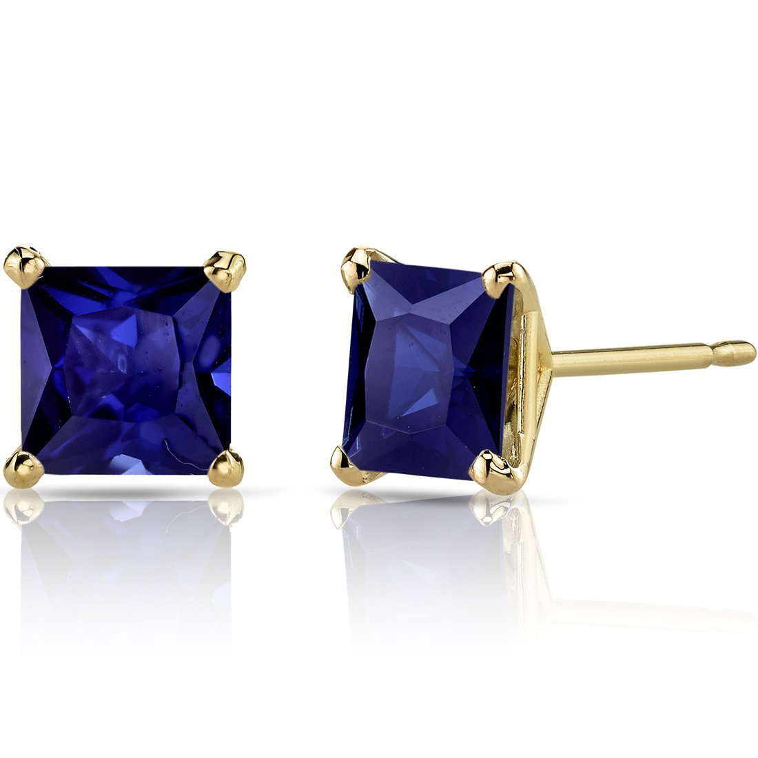 14K 14ct Yellow Gold 2 Ct Lab Blue Sapphire Stud Earrings Princess Cut 6 x 6 mm