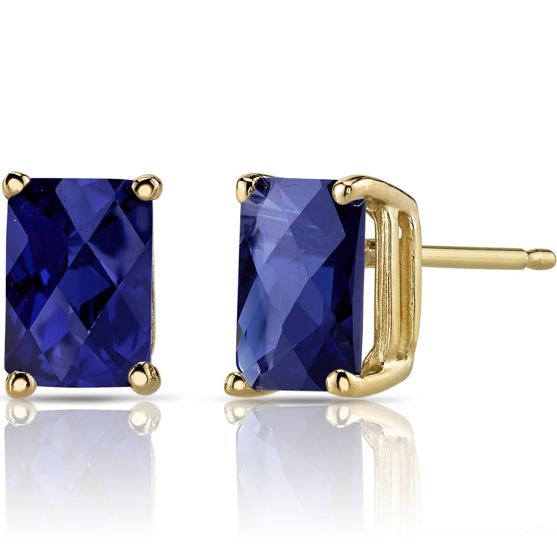 14K 14ct Yellow Gold 2 Ct Lab Blue Sapphire Stud Earrings Radiant Cut 6 x 6 mm