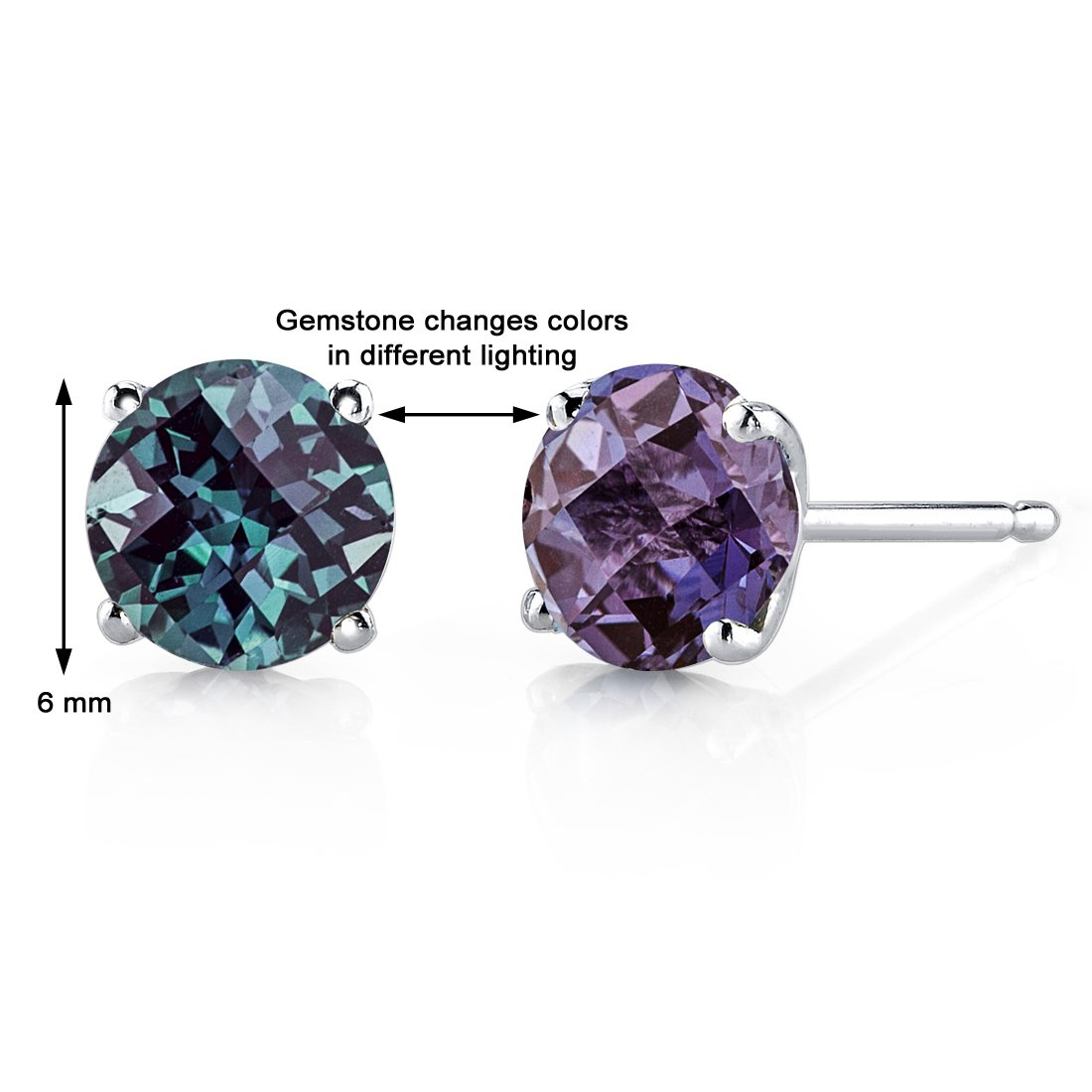14K 14ct White Gold 1.5 Ct Lab Alexandrite Stud Earrings 4 Prong Round  6 mm