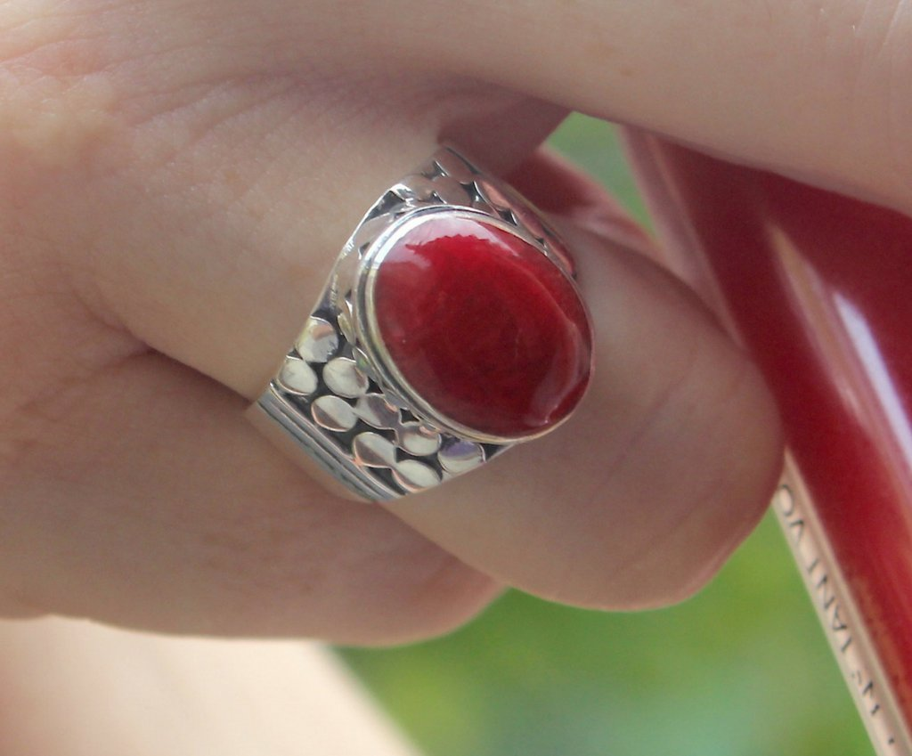 Passion ring, ring for women in red coral and 925 silver, red jewelry, solid 925 silver jewelry