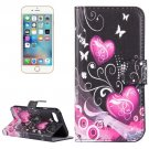 For iPhone 8 & 7 Hearts Pattern Leather Case with Holder, Card Slots & Wallet