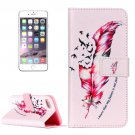 For iPhone 8 & 7 Red Feather Pattern Leather Case with Holder, Card Slots & Wallet
