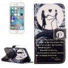 For iPhone 8 & 7 Moon Couple Pattern Leather Case with Holder, Card Slots & Wallet