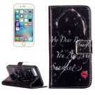 For iPhone 8 & 7 Red Lip Girl Pattern Leather Case with Holder, Card Slots & Wallet