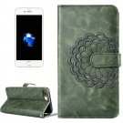 For iPhone 8 & 7 Army Green Flower Leather Case with Card Slots, Wallet & Photo Frame