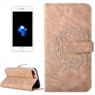 For iPhone 8 & 7 Gold Flower Leather Case with Card Slots, Wallet & Photo Frame