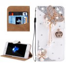 For iPhone 8 & 7 Fevelove Butterfly Diamond Leather Case with Magnetic Buckle & Card Slots