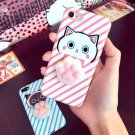 For iPhone 8 & 7 3D Pink Lovely Cat Cartoon Pattern Squeeze Relief IMD Workmanship Squishy Case
