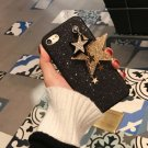 For iPhone 8 & 7 Glitter Powder Soft TPU Black Back Cover Case with Star Pandent