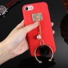 For iPhone 8 & 7 Red Diamond Pearl Half-ring Tassel Pendant Plush Cloth PU Leather Case