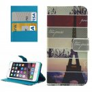 For iPhone 8+ & 7+ Eiffel Tower Pattern Leather Case with Holder, Card Slots & Wallet