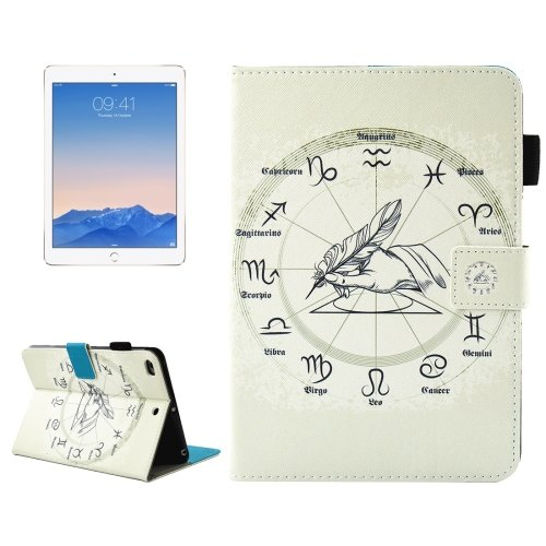 For iPad 9.7 inch 2017 Zodiac Smart Cover Leather Case with with Holder, Wallet & Pen/Card Slots