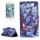 For iPhone 8+ & 7+ Wolves Pattern Leather Case with Holder, Card Slots & Wallet