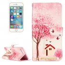 For iPhone 8+ & 7+ Happy Cottage Pattern Leather Case with Holder, Card Slots & Wallet