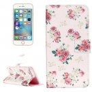 For iPhone 8+ & 7+ Light Rose Pattern Leather Case with Holder, Card Slots & Wallet