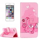 For iPhone 8+ & 7+ Embossed Pink Bear Pattern Leather Case with Holder, Card Slots & Wallet