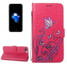 For iPhone 8+ & 7+ Magenta Voltage Crazy Horse Leather Case with Wallet, Card Slots & Lanyard