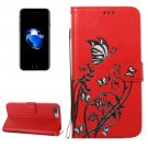 For iPhone 8+ & 7+ Red Voltage Crazy Horse Leather Case with Wallet, Card Slots & Lanyard