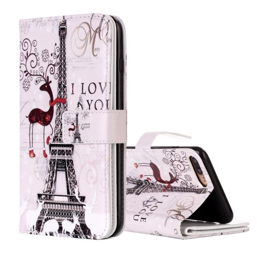 For iPhone 8+ & 7+ Tower Pattern Leather Case with Wallet, Card Slots & Photo Frame